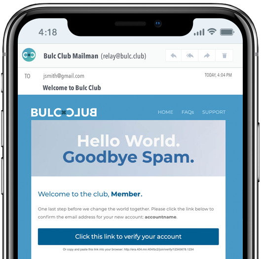 Click to Verify your Bulc Club Account
