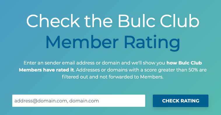 Check Member Rating for a sender's email address or domain